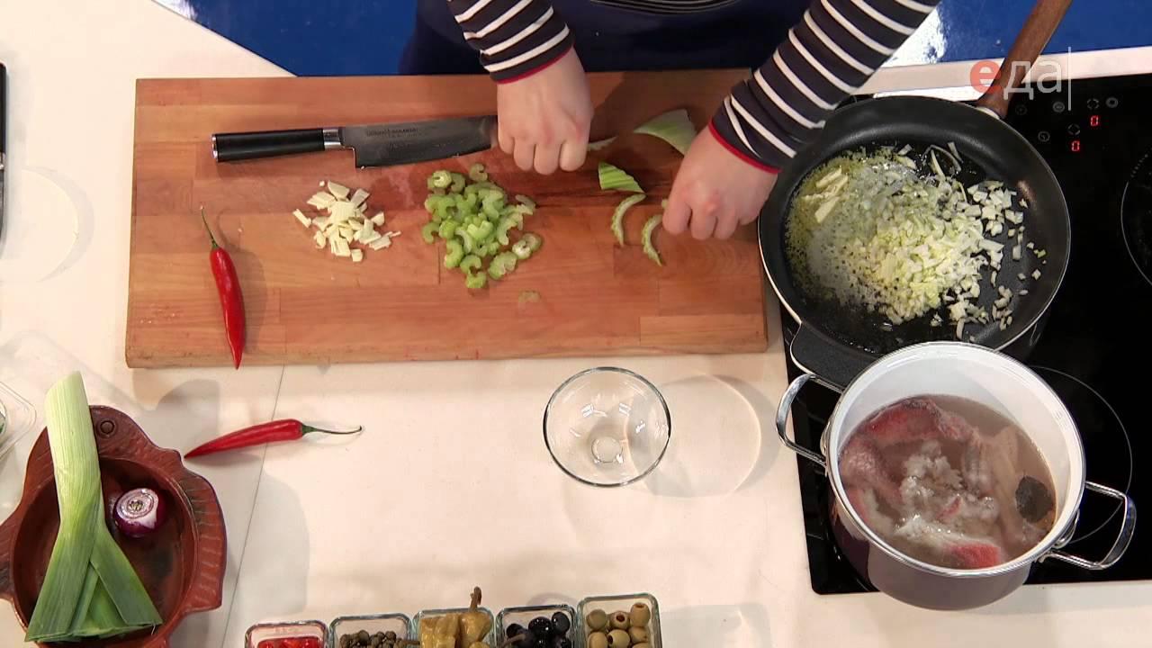 Суп из морского окуня с тертым картофелем