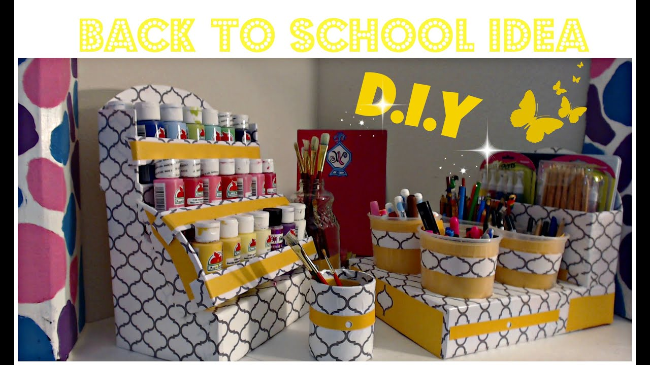 Diy Acrylic Paint Organizer Nail Polish Back To School Cardboard Ideas You
