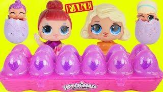 Fake LOL Surprise Dolls Open Hatchimals + LQL Lil Sisters!