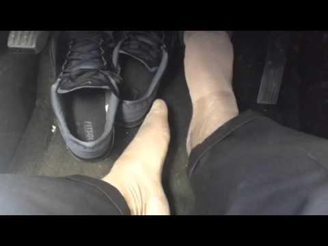 Beige socks in car