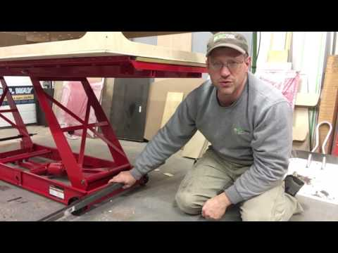 Turn a Harbor freight motorcycle lift into a plywood lift feed table for wood shop