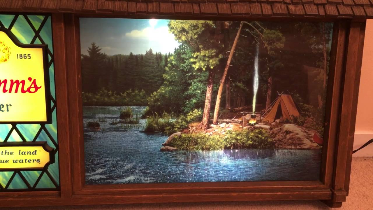 1960s Hamms Campfire Scene O Rama Motion Beer Sign - YouTube