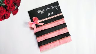 Happy new year card 2020   how to make new year greeting card   new year card making handmade easy