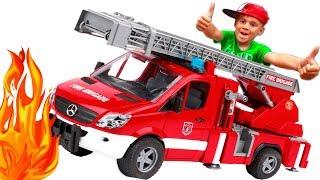 #Мультик про машинки для мальчиков Пожарная машина #Bruder и Грузовики тушит пожар