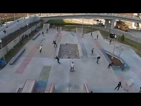 Drone Chicago - New Grant Park Skate Park - Skateboarding HD1080p