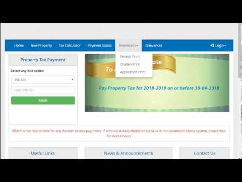 BBMP property tax - By challan or online - easy way