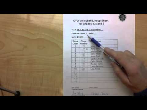 CYO Volleyball 4 6 Line Up Sheet Rotations - YouTube