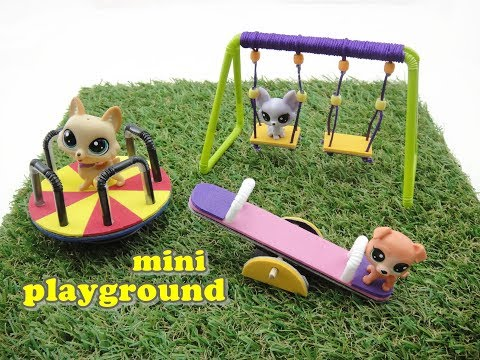DIY Miniature Doll Mini Playground Swing, Seesaw and Merry Go Round - Really Works!