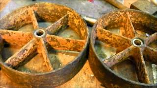 Two wheels on my wagon.... cast iron wheels repair