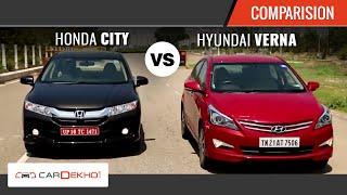 2015 Honda City Vs Hyundai Verna I Comparison Video I CarDekho.com