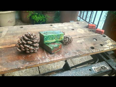 knife making : Making pine cone scales WITHOUT a vacuum chamber