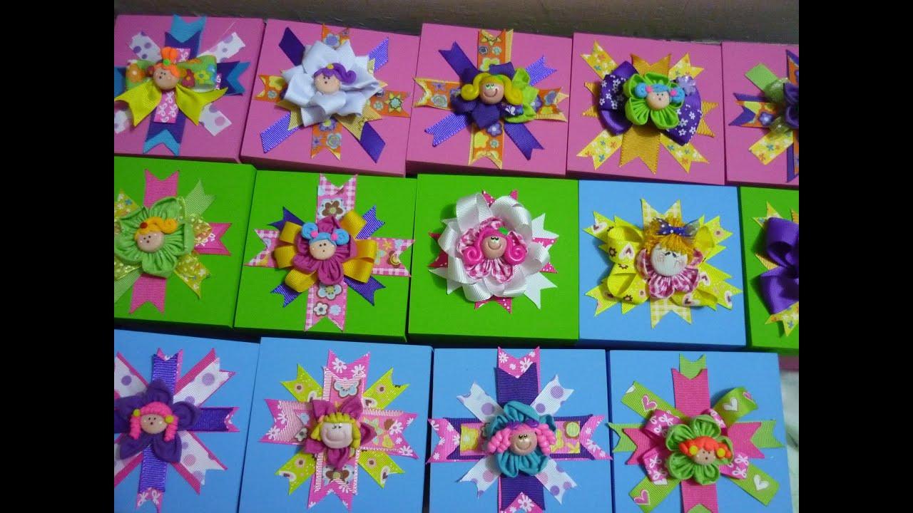 Cajas de madera decoradas con Lazos de liston Flores de tela