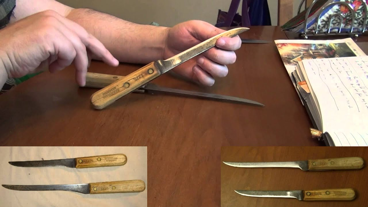 restoration two very old and well used sharpened kitchen knives youtube. Black Bedroom Furniture Sets. Home Design Ideas