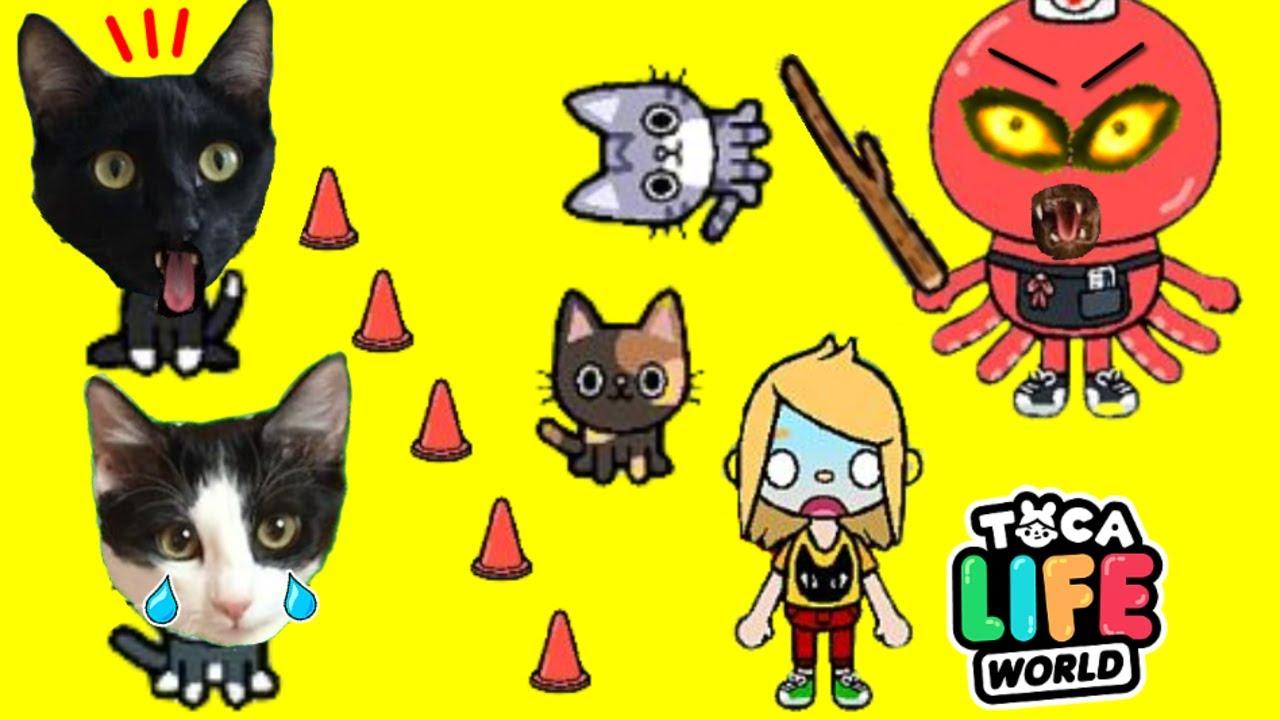 Juego del calamar con gatos Luna y Estrella en TOCA LIFE WORLD / Videojuego con gatitos