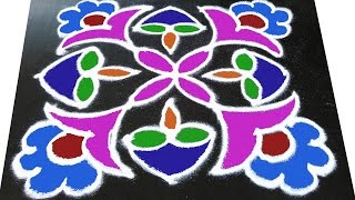 #200 - Rangavalli for Festival   7 to 1 Straight Dots   Easy Rangoli Designs with Kolam Design