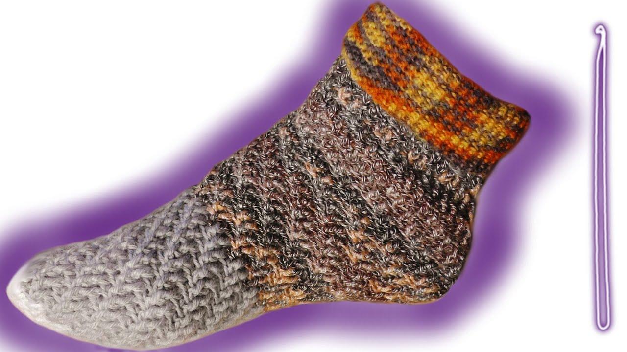 Wirbel Socken Ohne Ferse Häkeln Lernen Für Linkshänder Youtube