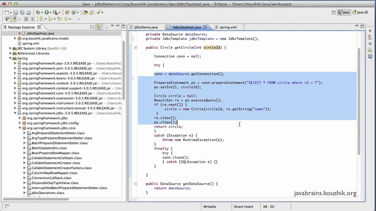 Spring tutorial 39 using jdbctemplate youtube for Jdbc template in spring