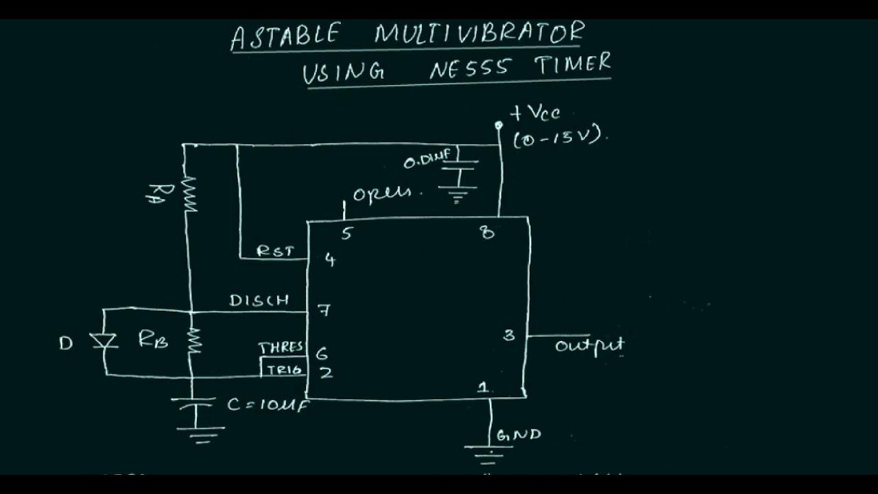 led blinker circuit using 555 astable multi vibrator generate square wave using 555 timer [ 1280 x 720 Pixel ]