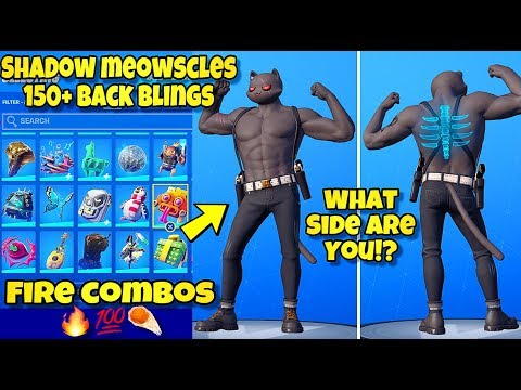 """NEW SHADOW """"MEOWSCLES"""" SKIN Showcased With 250+ BACK BLINGS! Fortnite BR (SHADOW MEOWSCLES COMBOS)"""