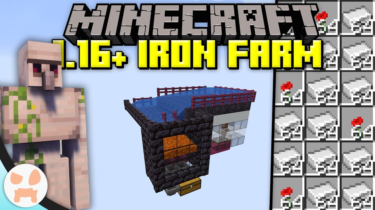 Minecraft 16.166+ IRON FARM TUTORIAL!  Efficient, Easy, Compact