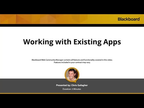 Work With Existing Apps in Blackboard Web Community Manager