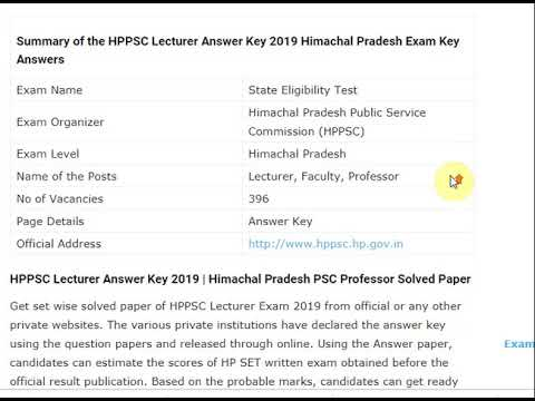 HPPSC Lecturer Answer Key 2019 Himachal Pradesh Exam Key Answers