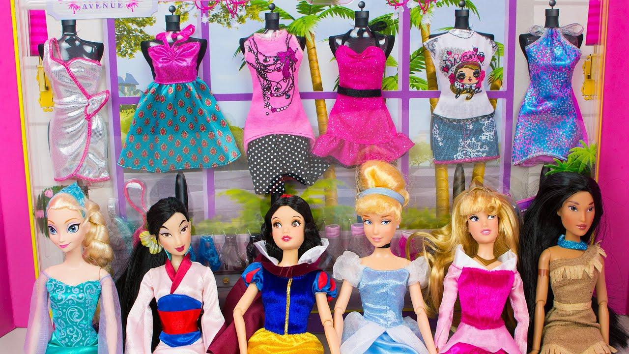 Dress up princess doll - Barbie Doll Clothes Disney Princess Dress Up Challenge Frozen Elsa Snow White Cinderella Aurora Youtube