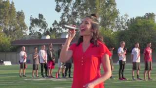 Gabrielle Ruiz sings the National Anthem for the Los Angeles Aviators