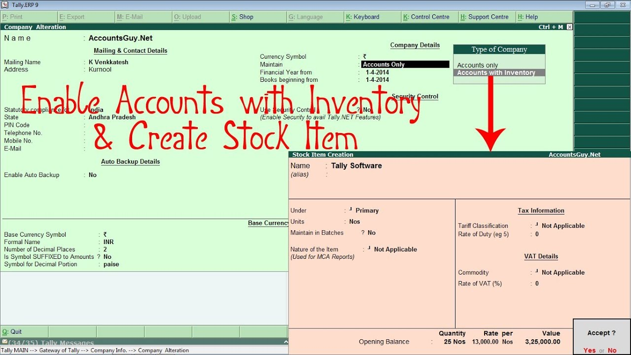 How To Enable Inventory And Create Stock Item In Tally Erp 9 Youtube