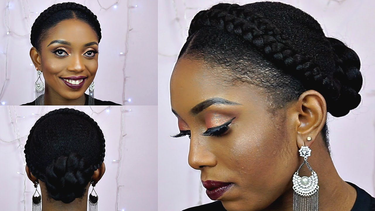 How To Goddess Halo Braids With Bun Updo Tutorial On Short Natural