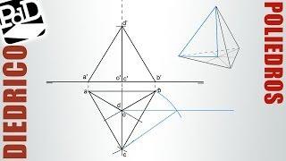 Tetraedro apoyado en PH y una arista paralela al PV (Poliedros / Sistema Diédrico).