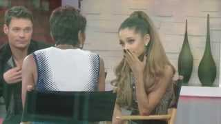 Ariana Grande looking sad at Good Morning America after her grandpa passing