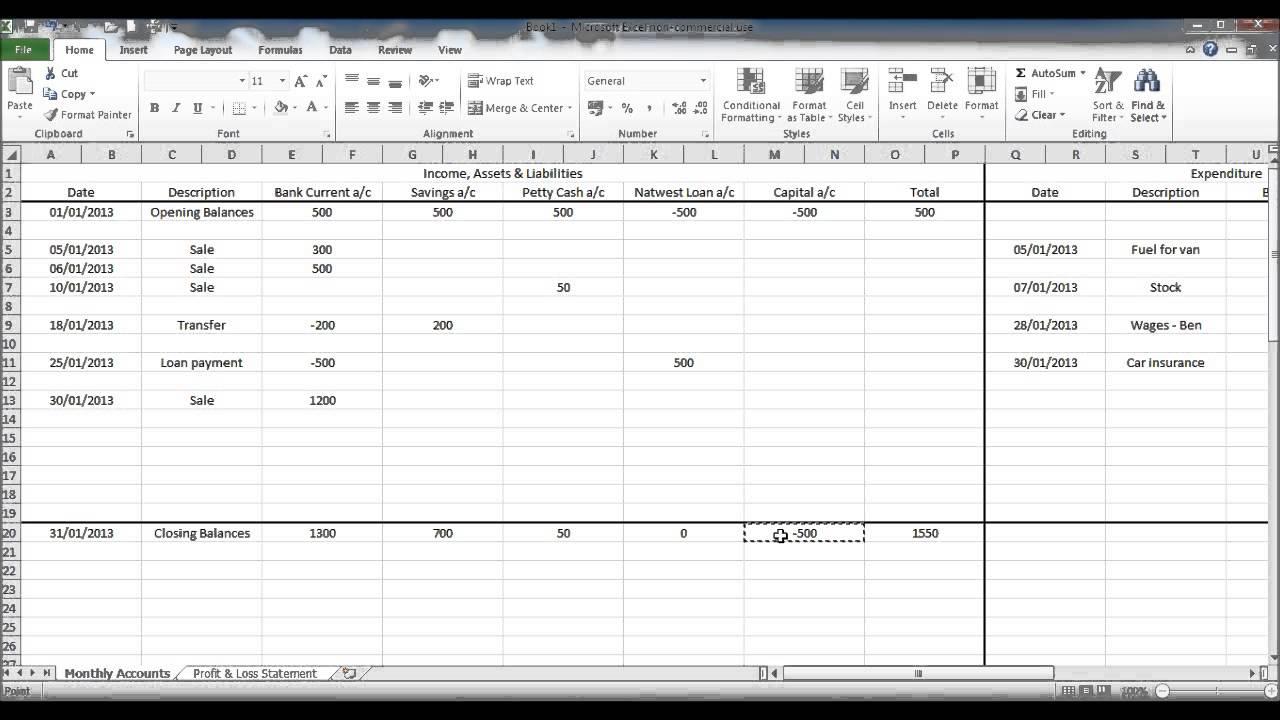 bookkeeping spreadsheet excel