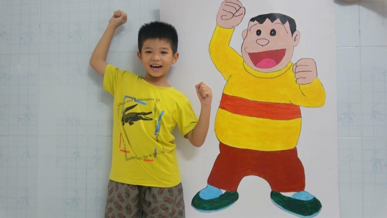 Vẽ Jaian mập ú trong phim hoạt hình Doremon – Draw and Coloring  Jaian in Doraemon Cartoon for kids
