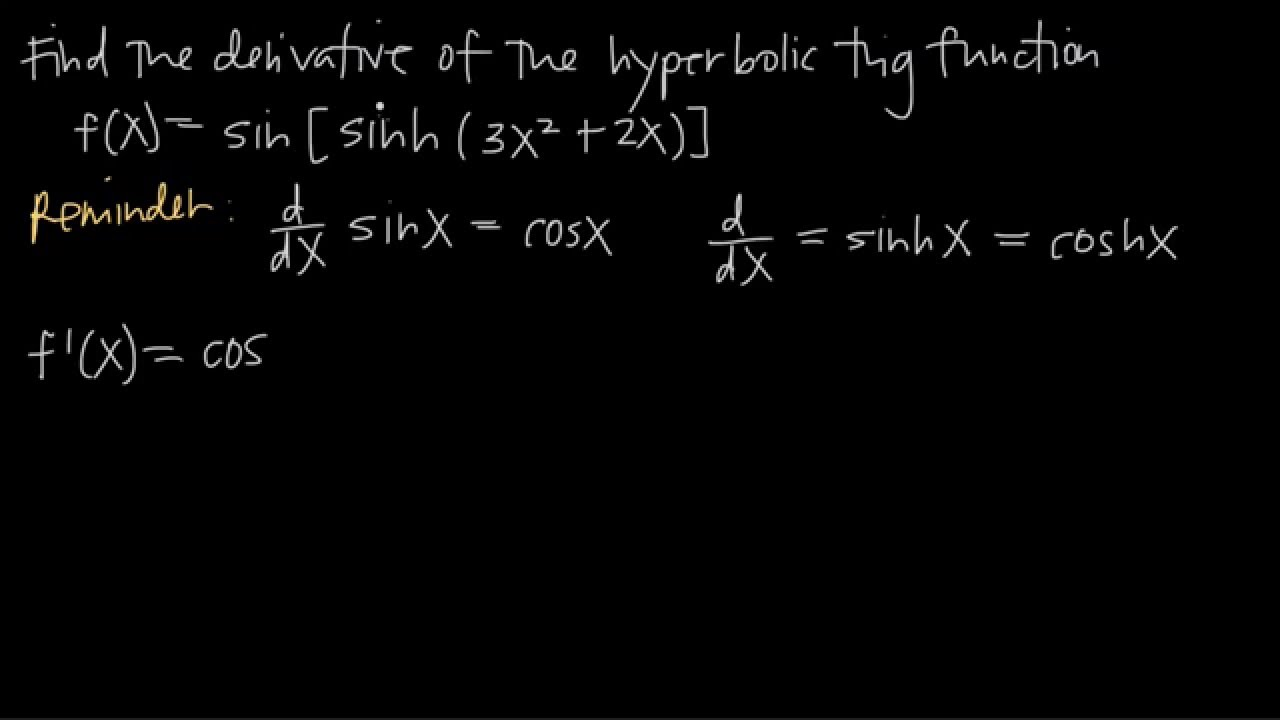 Derivatives Of Hyperbolic Functions Kristakingmath Youtube