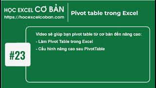Học Excel cơ bản | #23 Pivot table trong Excel