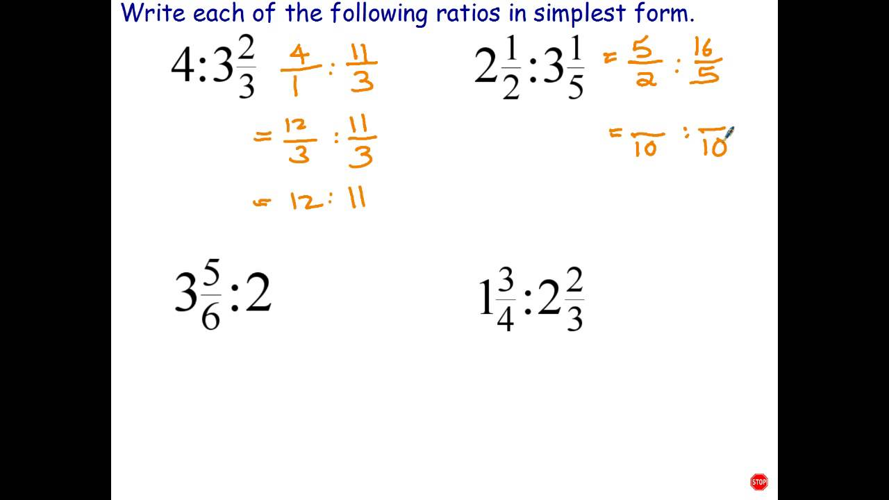 simplest form calculator mixed numbers  Simplifying Ratios Involving Mixed Numbers