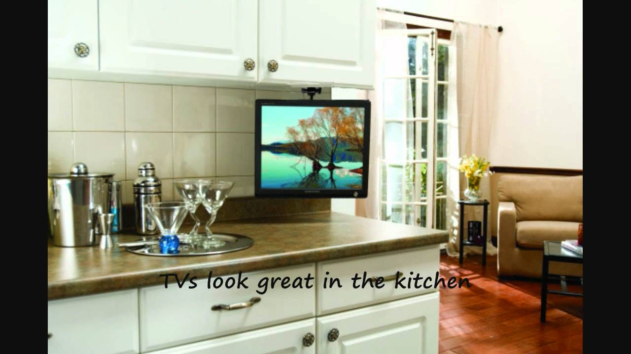 Arrowmounts flip down ceiling or under cabinet mount for - Small tv for kitchen wall ...