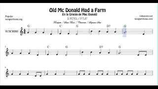 En la granja del tio Mac Donald Partitura de Trompeta Saxo Tenor Clarinete y Soprano Sax