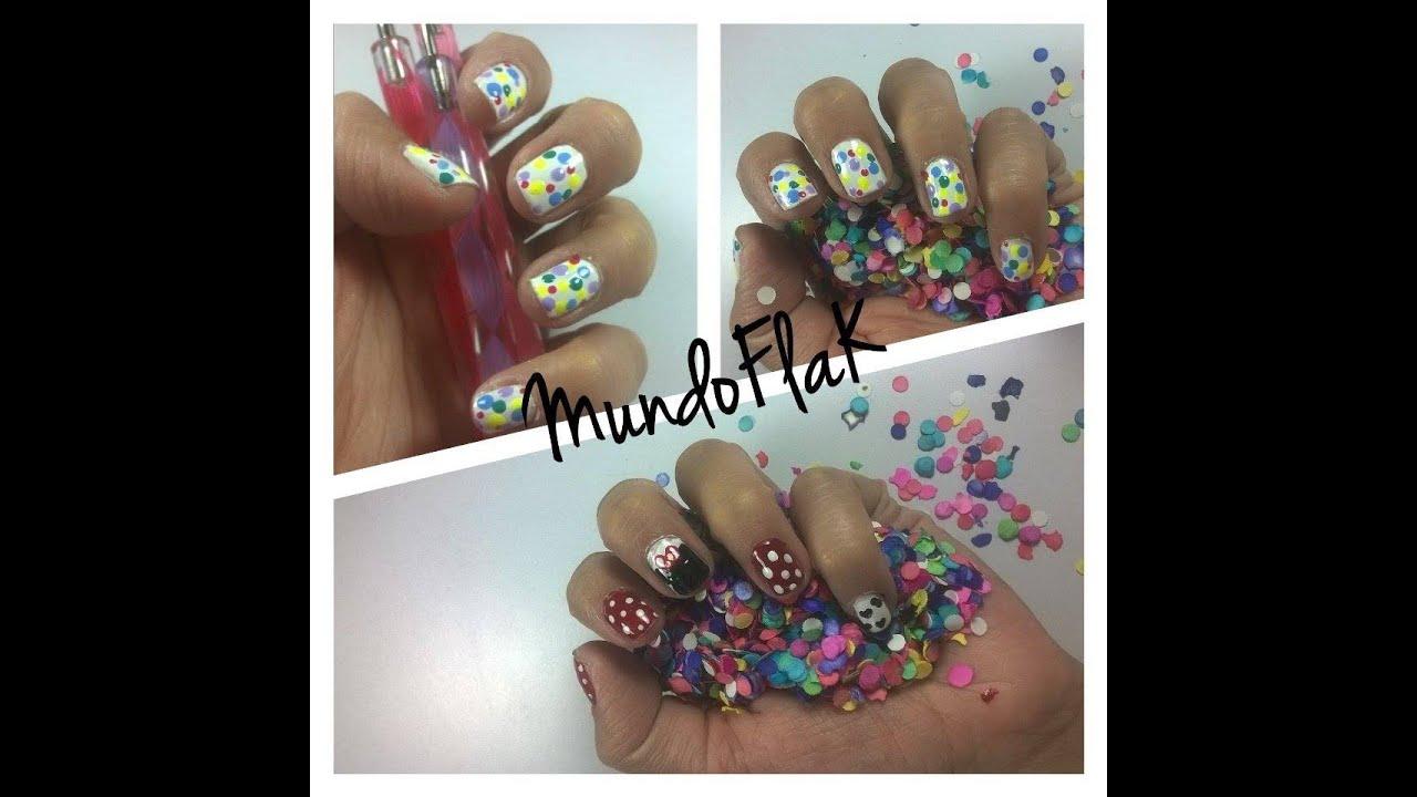 Uñas confeti y Minnie mouse - YouTube