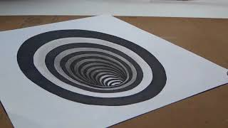 Drawing a Round Hole   Anamorphic Illusion   3D Trick Art Drawing360p