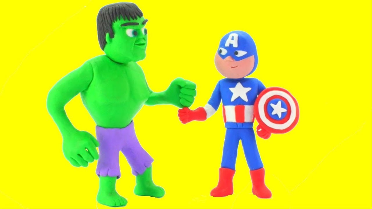HULK & CAPTAIN AMERICA PLAY DOH CARTOONS FOR KIDS ❤ Superhero & Frozen Elsa Cartoons ❤ Stop Motion