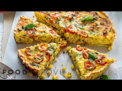Caramelised Onion, Corn And Tomato Quiche | Food To Love