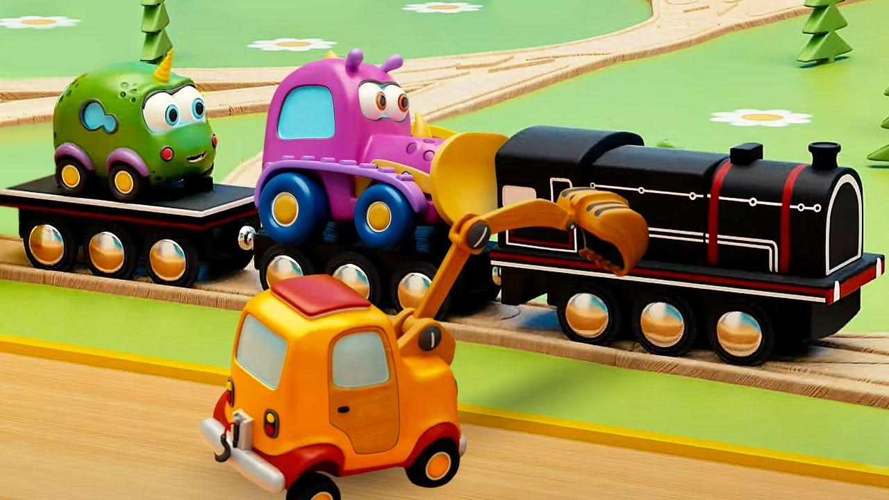 Машинки Мокас и ПОЕЗД - Новый мультик для малышей. Маленькие машинки мультфильм