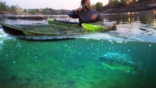 Top Water Fishing for Giant Bass on the River in a Kayak! - Vlog (Bass Fishing) 16LB Bass!(In this video I fish for bass in a Kayak with my friend Tiler that I met at the river! Big fish of the day at 18:30 If you want to see more fishing videos like this make ..., 2016-05-02T23:00:00.000Z)