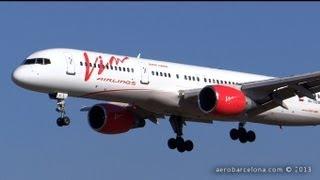 [FULL HD] VIM Airlines Boeing 757-230 landing Barcelona-El Prat