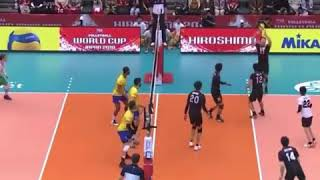 A great defence by Japan volleyball player