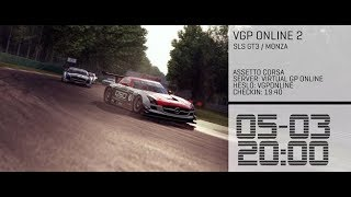 Assetto Corsa - Virtual GP VGP-Online showrace - Mercedes SLS GT3 around Monza - Setup work Testing