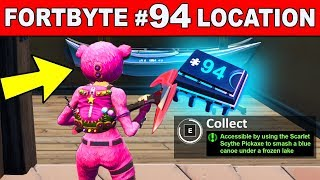 ACCESSIBLE BY USING THE SCARLET SCYTHE PICKAXE TO SMASH A BLUE CANOE UNDER A FROZEN LAKE Fortbyte 94