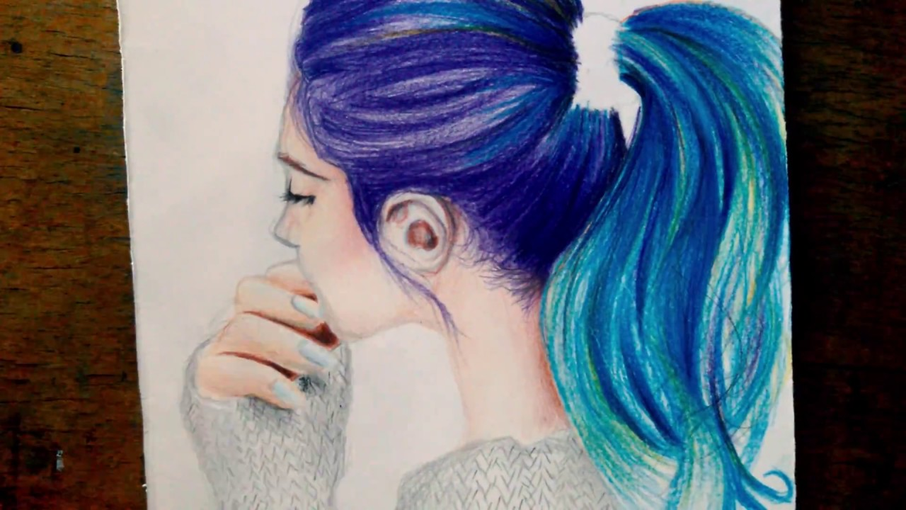Drawing hair tutorial easy with colored pencil
